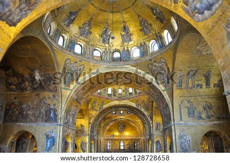 VENICE-JUNE 15: Interior of St Mark's Basilica on June 15, 2012 in Venice, Italy. St Mark's Basilica is the cathedral church of the Roman Catholic Archdiocese of Venice, northern Italy. - stock photo