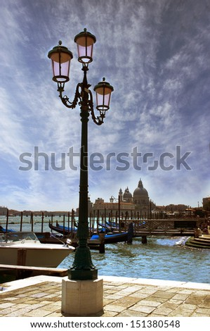 Venice lagoon. Gondolas moored by Saint Mark square. Venice, Italy, Europe    - stock photo