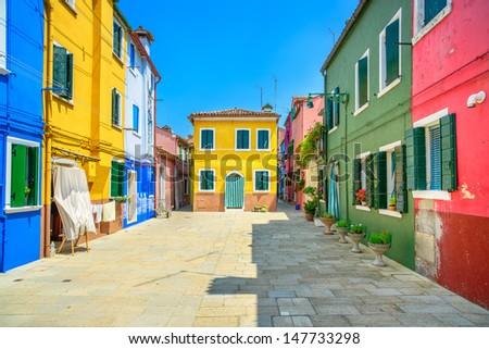 Venice landmark, Burano island street, colorful houses, Italy, Europe. - stock photo