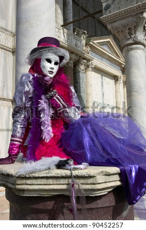 VENICE - MARCH 5: Participant in The Carnival of Venice, an annual festival starting around two weeks before Ash Wednesday and ends on Shrove Tuesday or Mardi Gras in March 5, 2011 in Venice, Italy.