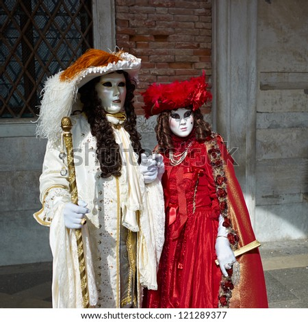 VENICE - MARCH 5: Unidentified persons in Venetian costume attends the Carnival of Venice, festival starting two weeks before Ash Wednesday on March 5, 2011 in Venice, Italy.