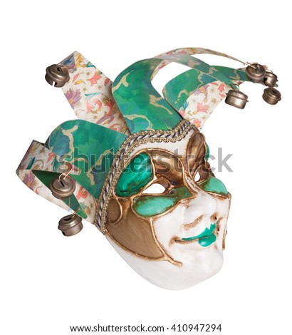 Venice mask isolated on white with clipping path - stock photo