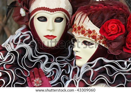 Venice Masks, Carnival. Focus on the right mask. - stock photo