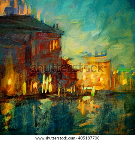 venice night channel, painting by oil on canvas, illustration - stock photo