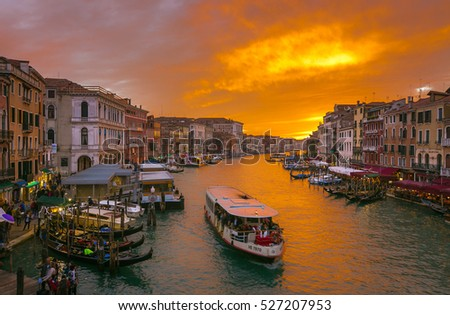 VENICE - Nov 6, 2016: Beautiful sunset view of Famous grand canale from Rialto Bridge, Nov 6, 2016. Venice, Italy
