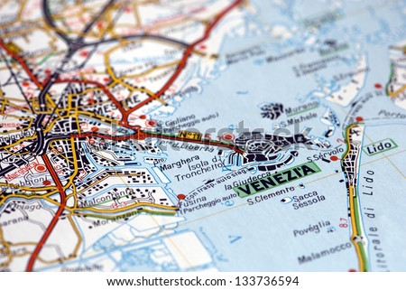 Venice on a map - stock photo