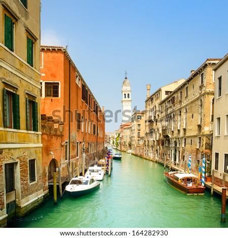 Venice panorama cityscape, San Giorgio dei Greci water canal and church campanile. Italy, Europe. - stock photo