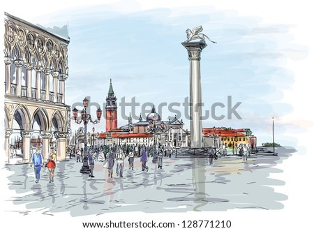 Venice. Piazza San Marco. Doge's Palace and the view of the island of San Giorgio Maggiore. Bitmap copy my vector - stock photo