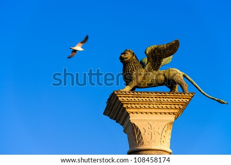 Venice's symbol the winged lion statue - stock photo