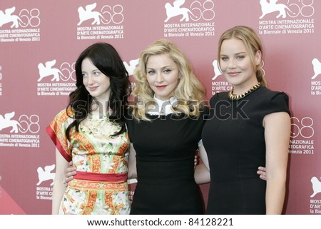VENICE -SEP 1: Andrea Riseborough; Madonna; Abbie Cornish at the 68th Venice International Film Festival in Venice, Italy on September 1, 2011. - stock photo