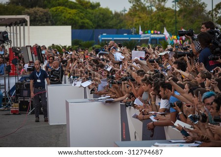VENICE - SEPTEMBER 02, 2015: fans waiting for autographs during 72 Venice film festival