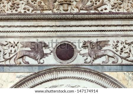 Venice -the Scuola Grande di San Marco, nearby the basilica of santi Giovanni e Paolo  - stock photo
