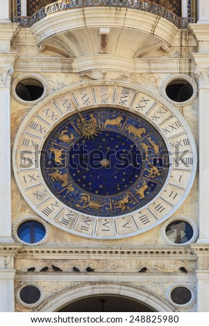 Venice tower clock   Astronomical Clock Tower. St. Mark's Square (Piazza San Marko), Venice, Italy.  - stock photo