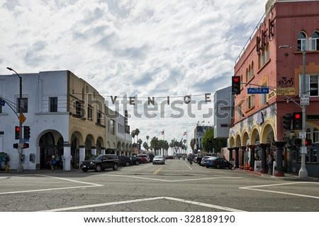 Venice, USA - October 14, 2015: THe Ocean Front Walk at Venice Beach is one of the most popular attractions for tourists in Southern California - stock photo