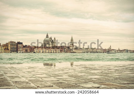 Venice (Venezia) at a rainy day, Italy, Europe, vintage style