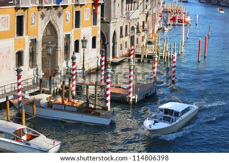 Venice with boats on Grand canal in Italy - stock photo