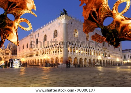 Venice with Carnival mask against Doge Palace, Italy - stock photo