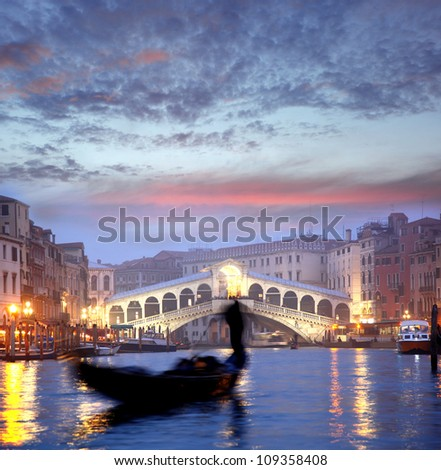 Venice with gondola in the evening, Italy - stock photo
