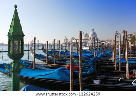 Venice with Gondolas in marina on Grand Canal, Italy
