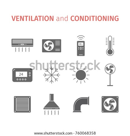 Ventilation and conditioning. Climate control icon set. Flat illustration.
