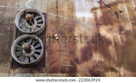 Ventilation at old industrial factory. - stock photo