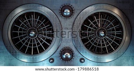 Ventilation at old industrial steel factory / 3d render of large industrial fan in futuristic style - stock photo
