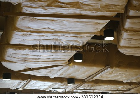 Ventilation pipes , air condition tube on ceiling background ,System of ventilating pipes in an underpass - stock photo