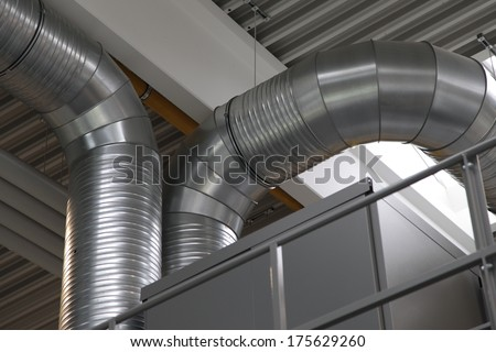 Ventilation system with different ventilation pipelines in high quality steel - stock photo