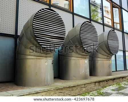 ventilation tube - ventilation grille - stock photo