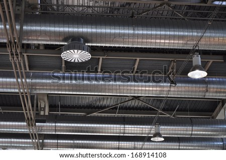Ventilation tubes, industrial air conditioning - stock photo