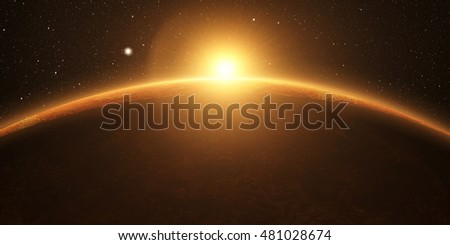Venus. Cinematic and very realistic sunrise seen from space on venus, 3d rendering. Elements of this image furnished by NASA