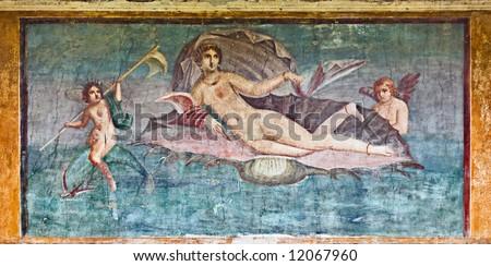 Venus fresco in House of Venus, Pompeii, Italy - stock photo