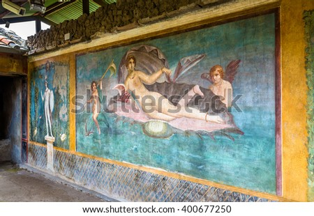 Venus in the shell, an ancient roman fresco in Pompeii, Italy - stock photo
