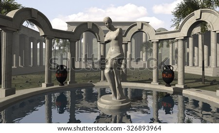 Venus of Milo and an ancient Greek temple. 3D rendering
