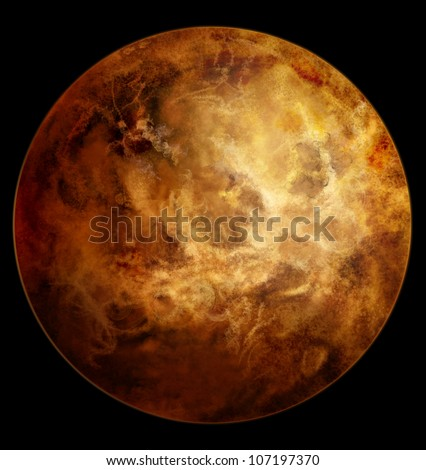 Venus planet beyond our solar system. Isolated on black. - stock photo