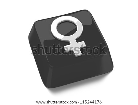 Venus symbol in white on black computer key. 3d illustration. Isolated background.