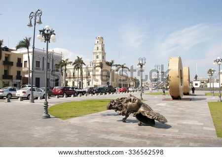 VERACRUZ, MEXICO -JANUARY 19.2015:Giant sculptures by Javier Marin at city center on January 19,2015 in Veracruz,Mexico