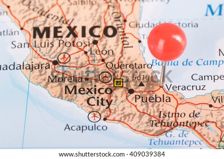 Veracruz oil plant explosion with pin point event in Mexico - stock photo