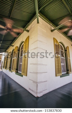 Veranda with fans at Hemingway home in Key West - stock photo