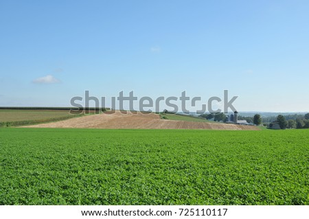 Verdant farmland with soybeans in front and plowed field in the rear in Lancaster County, PA