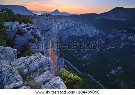 Verdon Gorge - dawn - France - stock photo