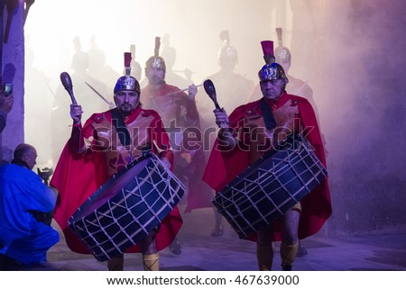 VERGES, CATALONIA-SPAIN, MARCH 2016 - Roman soldiers. People of Verges celebrate the procession and an ancient and unique dance of death on Easter Thursday in the evening.