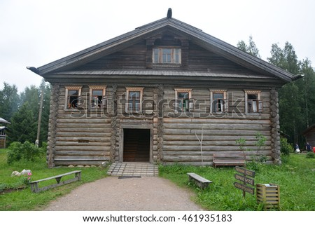 VERHNIE MANDROGI, RUSSIA- JULY 20, 2016: Mandrogi crafts village on the Svir river