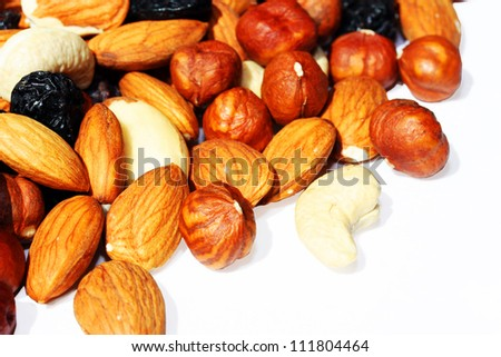 Verity Nuts Isolated on white background. - stock photo
