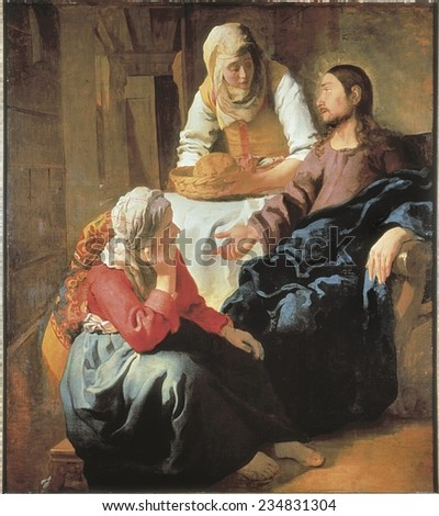 VERMEER, Johannes (1632-1675), Christ in the House of Martha and Mary, 1654-1655, Representation of the chapter 10 of Gospel of Luke, verses 38-42, Baroque art, Oil on canvas - stock photo
