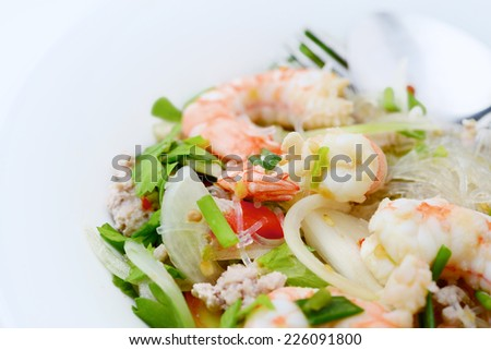 Vermicelli Salad with Shrimp, Thai Food - stock photo