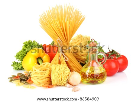 vermicelli, vegetables and oil isolated on white - stock photo