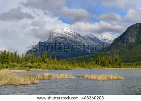 Vermillion lake and Mount Rundle in Banff National Park