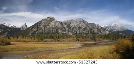 Vermillion Lake, Bow River & Banff mountains,   Alberta, Canada