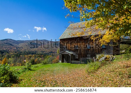 Vermont Farmhouse in Fall - stock photo